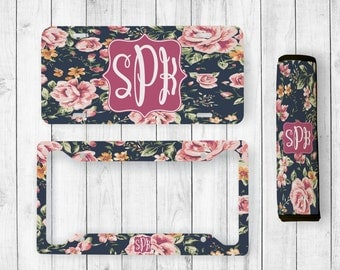 Monogrammed License Plate, Floral License Plate, Personalized License Plate Frame, Monogram Seatbelt Cover, Custom License Plate, Floral Car