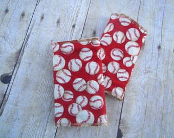 Red Baseball Drool Pads for baby carrier (including Ergo, Tula, Lillebaby and more)