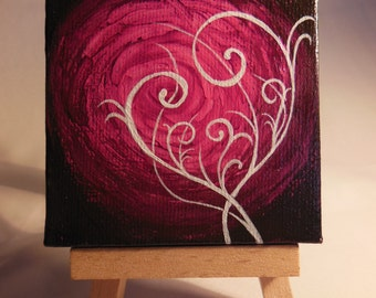 Hand-Painted Miniature Canvas on Easel