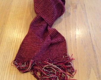 Handwoven ruby red chenille scarf