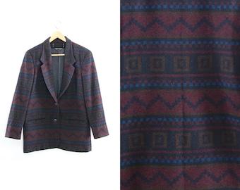 Vintage blazer coat. Tribal blazer. Southwestern. Womens blazer. Folk navajo ethnic. Geometric print.