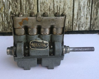 Antique Four Cylinder Kellogg Tire Pump - Model 34 - No. 43597 - Pat'd-Oct.-1910 - Rochester NY - Vintage Automobile Air Pump - Not Tested