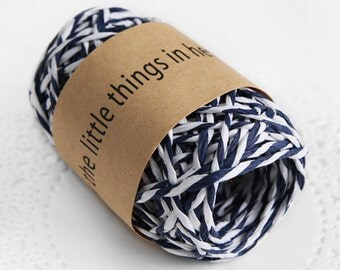 11 yd x Paper string / Navy Blue & White twine String / twist string / paper cord ribbon / paper twine / gift wrap