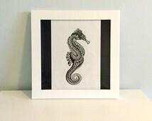 Zentangle Seahorse Original Ink Drawing