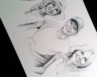 Custom Hand-Drawn Family Portrait Illustration Drawing - Perfect Birthday, Mother's Day, or Father's Day Gift!