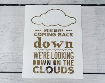 ONE DIRECTION Foil Lyric Art - Clouds Lyrics