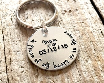 A Piece Of My Heart Is In Heaven Keychain Hand Stamped Memorial Gift Remembrance Gift For Him, Sympathy Gift For Man Boy Loss Of Loved One