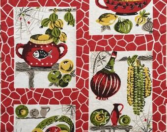 Vintage Red Kitchen Curtain Panel / Fabric 120cm x 96cm