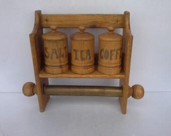 Vintage wooden boxes, nesting sugar salt tè per