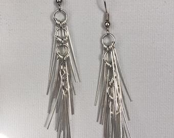 Edgy Silver Earrings - Edgy Spike Earrings - Steampunk and Edgy Earrings