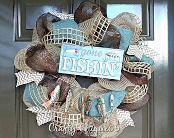 Gone Fishing Wreath; Spring Wreath; Summer Wreath; Burlap Wreath