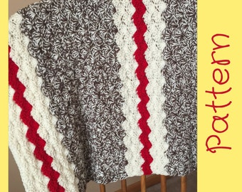 Sock Monkey Baby Blanket Crochet Pattern, Crochet Blanket Pattern, Sock Monkey Blanket, crochet Blanket Sock Monkey Shower