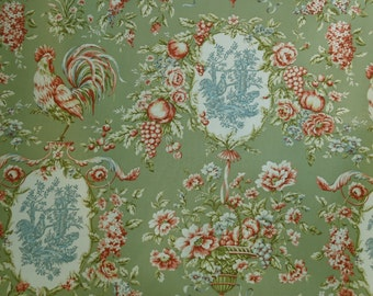 "Waverly, ""RENDEZVOUS"" Sorrel, Toile Fabric, French Country, Sold by Yard"