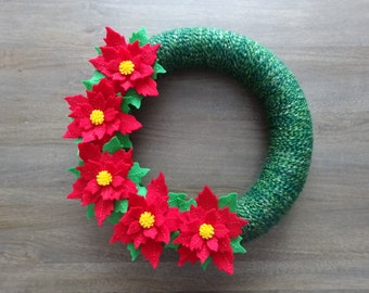 Christmas Felt Wreath, Felt Flower Wreath, Christmas Wreath, Poinsettia Wreath