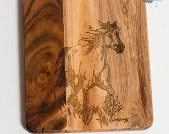 Engraved Wooden Chopping Board - Cutting Board - Cheese Board - Platter - Horse