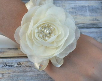 Ivory Chiffon Flower Wrist Corsage | Vintage Inspired Wedding Corsage | Elegant Wedding | Mother of the Bride | Flower Girl | Prom