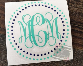 Monogrammed Decal | Personalized | Vine Monogram | Circle Monogram | Laptop Monogram | Car Monogram | Tumbler Monogram | Notebook Monogram