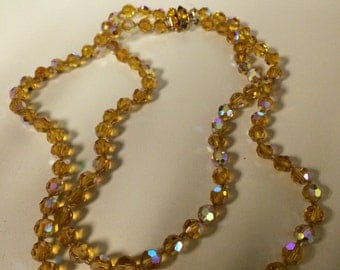 Vintage glass bead necklace - double strand- orange/yellow