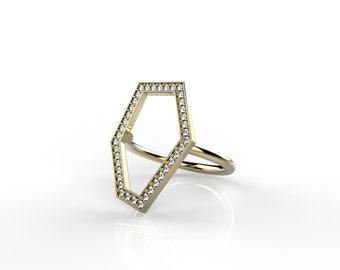 Gold Ring , Asymmetry-Diamond Ring , 14K Yellow Gold Ring , Geometric Ring , Geometric Gold  Diamond Ring , Handmade Gold Ring