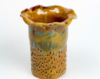 Ceramic flower vase handmade 12 cm