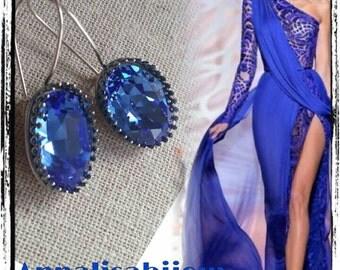 BLUE EARRINGS-ELEGANT SWAROVSKI PRECIOUS IMPORTANT
