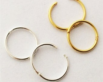 Hinged Hoop Earrings Nose Rings , ONE Pair, pick gold or silver, 12mm or 14mm, sleeper hoops for ears, cartilage,nose,lips