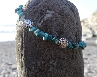Sea Gypsy Turquoise Spiral Charm Surf Bracelet