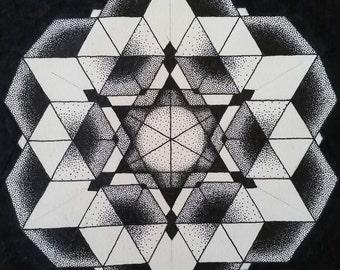 Handmade Dotwork Geometry Figures. Modern Wall Art