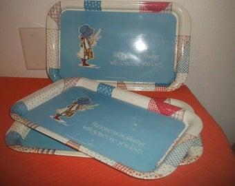 Vintage Holly Hobbie Trays Set Of Three 1974 By American Greetings Corp.