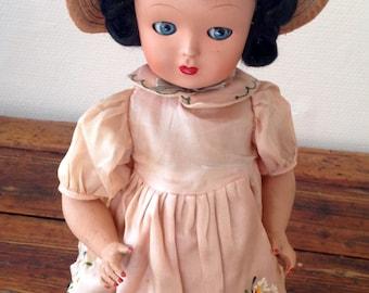 Gorgeous Plaster Doll with Black Hair, Sleepy Eyes and Mama Box