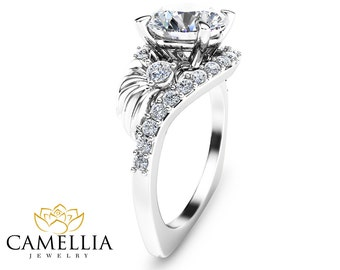 2 Carat Diamond Engagement Ring Leaf Design Diamond Ring 14k White Gold Vintage Style Diamond Ring