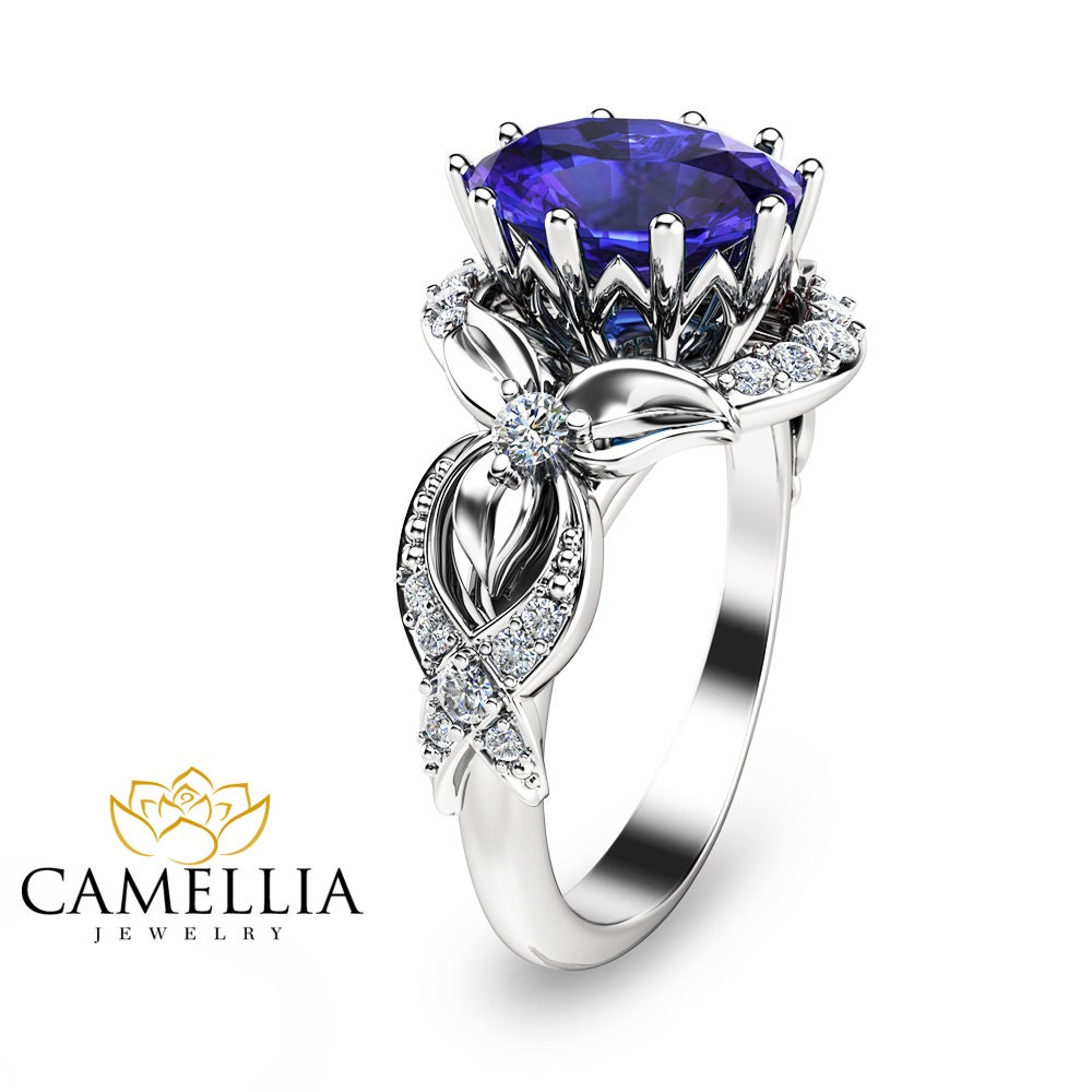 oval tanzanite ring promise ring anniversary ring in white. Black Bedroom Furniture Sets. Home Design Ideas