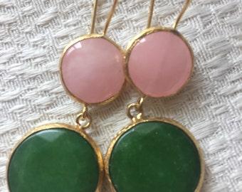 Rose Quartz and Jade Earrings