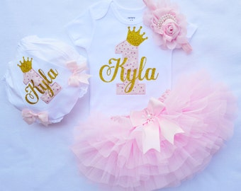 first birthday Outfit girl,Cake Smash Outfit girl,Girls First Birthday outfit,1st birthday girl outfit in pink and gold,1st birthday girl