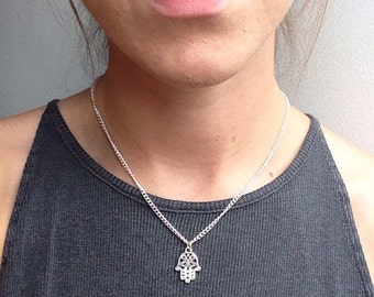 The Healing Necklace - Little patterned hamsa hand amulet charm necklace on silver plated chain by Serenity Project