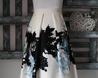 High waist pleated skirt with fabric flowers ceremony woman knee length skirt woman tea-length skirt casual Skirt Panel Midi
