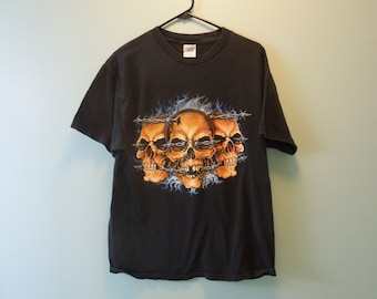 90s Skulls and Barbed Wire T-Shirt