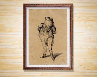 Gentleman Frog Animal poster print home decor
