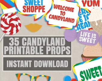 35 Candyland photo booth printable props, Sweet Shoppe props, sweet shop party theme decor, candyland party decor, candy photobooth props