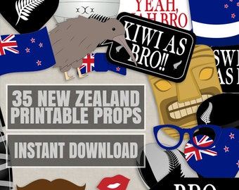 35 New Zealand Photo Booth Props, Kiwi themed party props, i love new zealand party, kiwi photobooth sign, kiwi flag, new zealand props