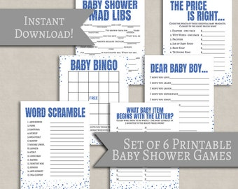 Blue Baby Shower printable game set of 6, it's a boy baby shower mad libs printable, baby bingo, word scramble, games packages S1E4