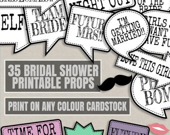 35 Any Color Bridal Shower Printables, ink saving bridal shower printables, print any cardstock color, bridal shower theme, cardstock choice