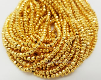 4 mm Gold Pyrite Faceted Beads , 13  inches