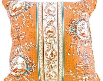 Asian Inspired Chintz Pillow Cover, Peach and cream pillow, Asian pillow - 22  x 22