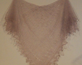 Russian Orenburg Lace Knitted Shawl, Light Brown