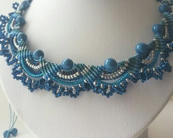 30% DISCOUNT   Blue micromacrame necklace Macramya