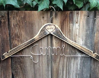 Rustic Personalized Wire Wedding Hanger || Distressed Wood || Wood Burned Date