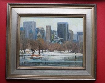Original Oil Painting, New York City, Central Park Lake, Framed Cityscape
