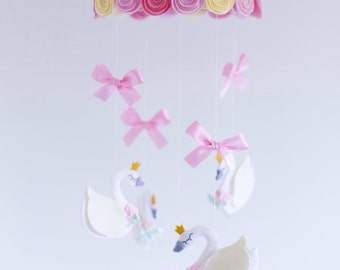 SALE! Pink, mint green and cream swan queen baby mobile with roses, ribbons, pearls and tulle.