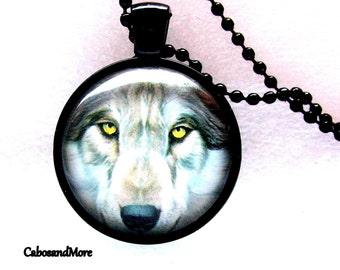 Wolf necklace cabochon necklace Wolf